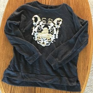 Sequin Graphic Tiger Sweatshirt